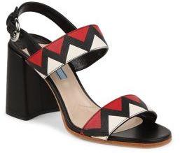 Prada Zigzag Leather Block-Heel Slingbacks