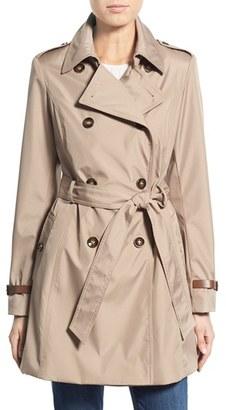 Women's Via Spiga Faux Leather Trim Trench Coat $210 thestylecure.com