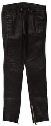 Balmain Lambskin Zip-Accented Moto Joggers