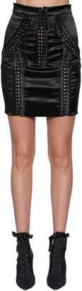 Dolce & Gabbana Lace-Up Stretch Satin Mini Skirt