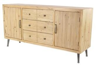 DecMode Decmode Modern Wood and Metal Multipurpose Brown Sideboard Cabinet, Light Brown