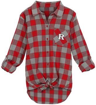 Juniors' Rutgers Scarlet Knights Spirit Week Tie-Front Flannel Shirt
