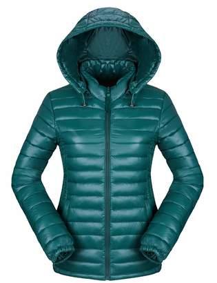 SOMTHRON Women Winter Thermal Hooded Puffer Jacket Light Packable Outdoor Down Jacket(BG-2XL)