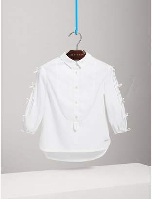 Burberry Sleeve Tie Detail Stretch Cotton Shirt