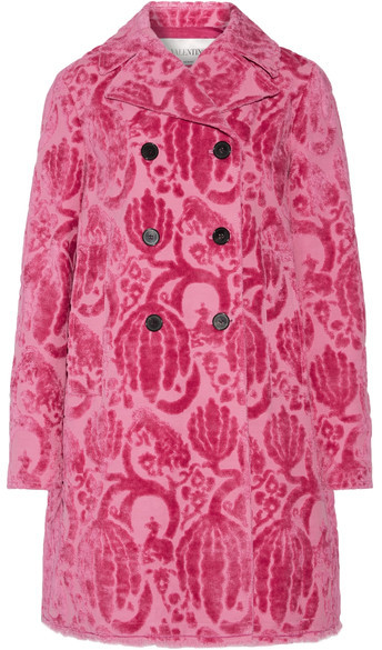 Valentino Valentino - Double-breasted Flocked Cotton-blend Coat - Bright pink