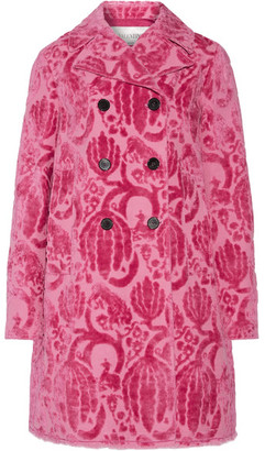 Double-breasted Flocked Cotton-blend Coat - Bright pink
