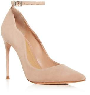 Schutz Women's Thaynara Suede Ankle Strap Pointed Toe Pumps