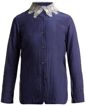 Thierry Colson Amauray Lace Collar Cotton Blend Pyjama Top - Womens - Navy Multi