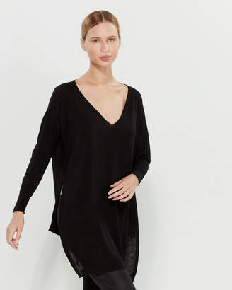 Liviana Conti V-Neck Wool Tunic Sweater