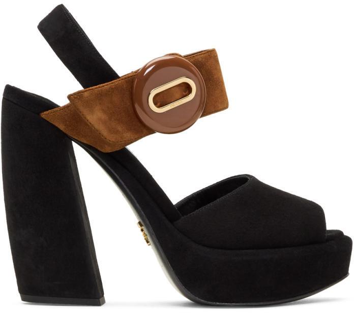 Prada Black and Brown Suede Button Platform Sandals