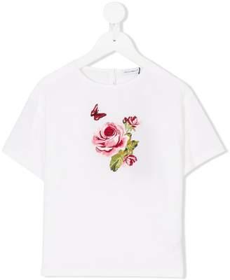 Dolce & Gabbana rose embroidery T-shirt