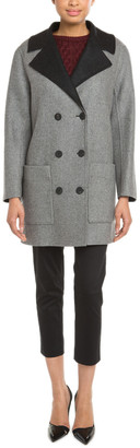 Balenciaga Grey & Black Reversible Double-Breasted Wool Blend Coat