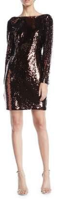 Aidan Mattox Long-Sleeve Sequin Bow-Back Mini Dress