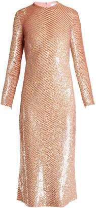 Ashish Striped sequin-embellished midi dress