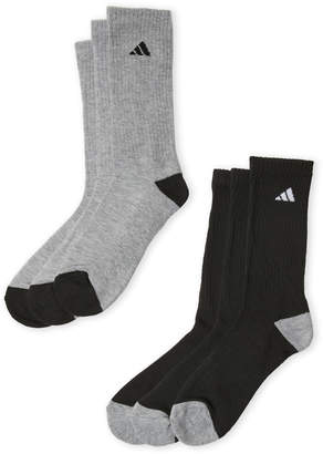 adidas 6-Pack Cushioned Moisture Wicking Crew Socks