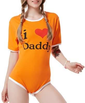 LittleLittle Adult Baby Onesie ABDL Snap Crotch Romper Onesie,I Love Daddy XL