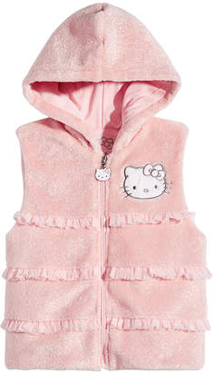 Hello Kitty Hello Kittly Little Girls Ruffle Trim Faux Fur Hooded Vest