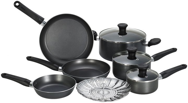 T-Fal Initiatives Nonstick Inside & Out Cookware Set 10pc