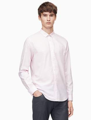 Calvin Klein classic fit herringbone slub roll-up shirt