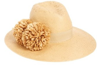 Women's August Hat Pom Straw Fedora - Beige $48 thestylecure.com