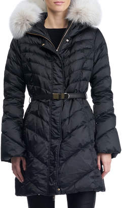 Gorski Hooded Quilted Puffer Apres-Ski Jacket with Fox-Fur Trim