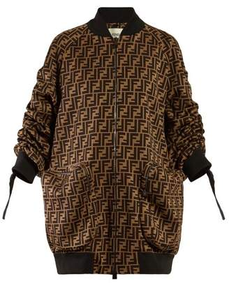 Fendi Oversized Logo Print Jersey Bomber Jacket - Womens - Brown Multi