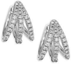 Melissa Kaye Cris Diamond& 18K White Gold Hinged Hoop Earrings