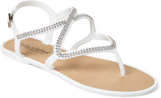 Twisted Embellished Jelly Thong Sandals