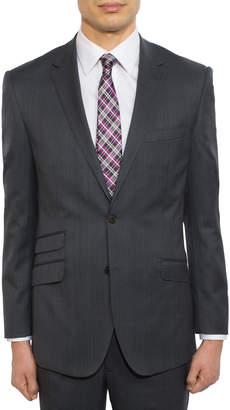 English Laundry Men's Slim-Fit Tartan-Plaid Two-Piece Suit, Black