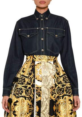 Versace Long-Sleeve Button-Front Denim Blouse