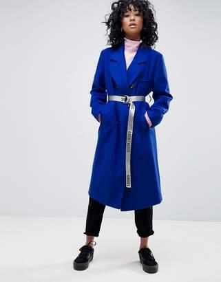 Asos DESIGN Oversized Coat with Contrast Belt
