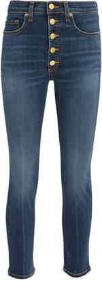 Veronica Beard Debbie Gold Button Skinny Jeans