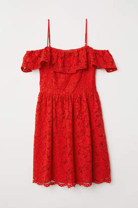 H&M Open-shoulder Dress - Red