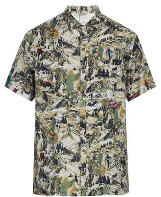 Lanvin Printed Short Sleeved Poplin Shirt - Mens - Khaki