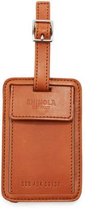 Shinola Men's Leather Luggage ID Tag, Bourbon
