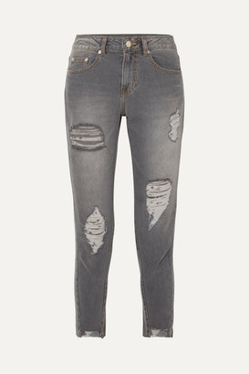 Sjyp Cropped Distressed Mid-rise Skinny Jeans