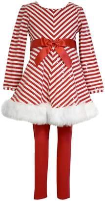 Bonnie Jean Girls 4-6x Striped Santa Dress & Leggings Set