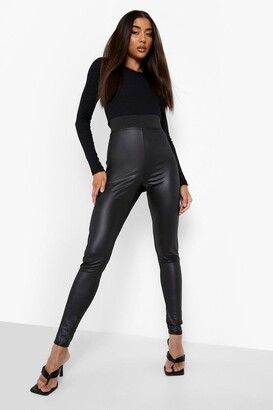 boohoo Cropped High Waist Wet Look Leggings