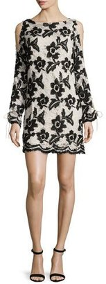 Tracy Reese Long-Sleeve Cold-Shoulder Lace Shift Dress $598 thestylecure.com