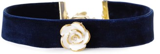 Poporcelain Golden White Cloud Rose Navy Velvet Choker