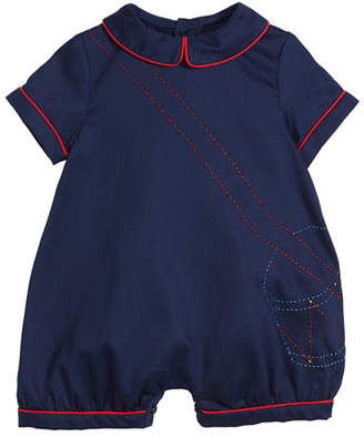 Luli & Me Drummer Boy Embroidered Shortall, Size 9-24 Months