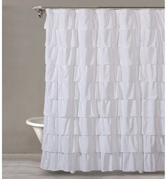 "Style Quarters BIANCA RUFFLE Shower Curtain - White Ruffles - Polyester - Machine Washable - Buttonhole - 1pc - 72""W x 72""L"
