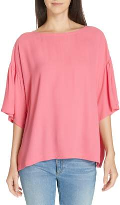 Eileen Fisher Flutter Sleeve Silk Boxy Top