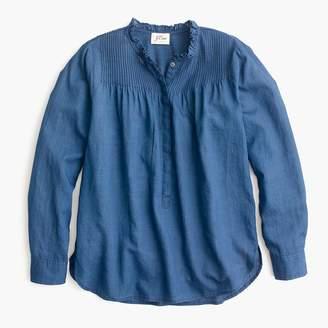 J.Crew Tall Ruffle classic popover shirt in indigo