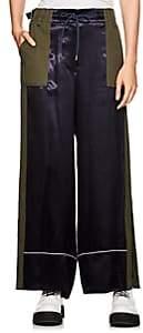 Sacai Women's Colorblocked Satin & Twill Wide-Leg Trousers - Navyxkhaki