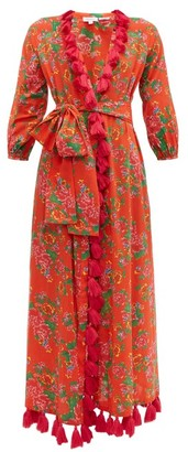 Rhode Resort Lena Floral Print Tassel Trim Cotton Wrap Dress - Womens - Red Print