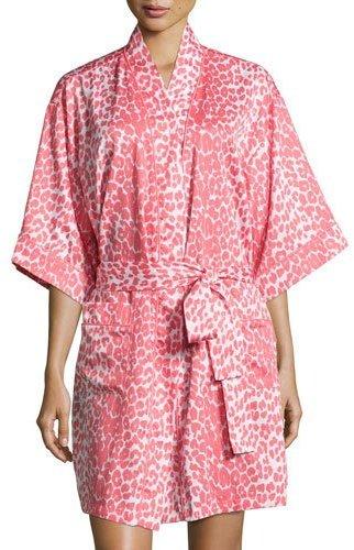 BedHeadBedhead Wild Thing Short Kimono Robe, Coral/Ivory