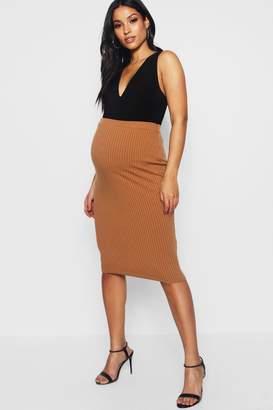 boohoo Maternity Basic Rib Midi Skirt