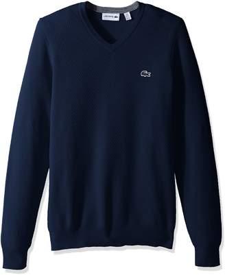 Lacoste Men's Textured Fancy Stitch Cotton/Wool V-Neck Sweater