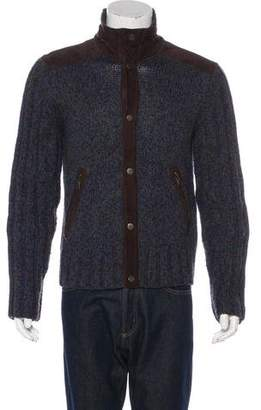 Dolce & Gabbana Wool-Blend Suede-Trimmed Cardigan
